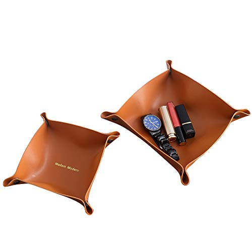 2 Pack Leather Desktop Storage Organizer Valet Tray Office Storage Box Trays Coins Cell Phones Catchall Tray Nightstand or Dresser Organizer for Wallet Keys Jewelry Money Accessories Brown