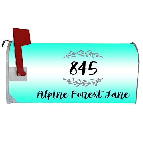 VWAQ Customized Mailbox Address Magnetic Cover - Plain Personalized Mailbox Decor - PMBM5 (Turquoise)