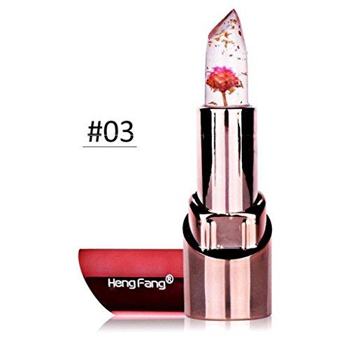 3 couleur fleur cristal gelée rouge à lèvres changement de température magique couleur baume à lèvres (C)