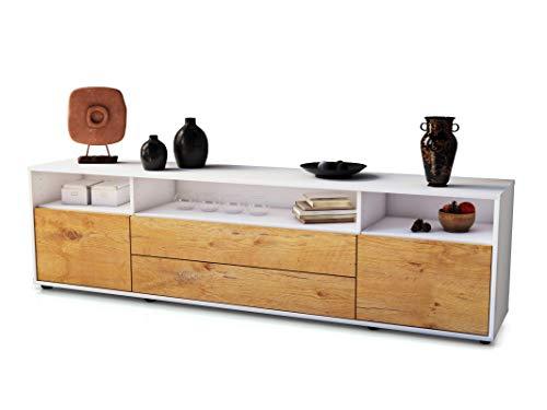 Stil.Zeit TV Schrank Lowboard Lucy, Korpus in Weiss matt/Front im Holz-Design Eiche (180x49x35cm), mit Push-to-Open Technik und hochwertigen Leichtlaufschienen, Made in Germany