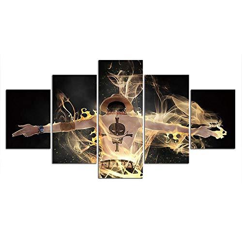 SHANGU Auf Leinwand Wachsamer One Piece Monkey D. Luffy 5 Teilig Bilder Wandbild Modern Kunstdruck Wanddekoration Canvas (No Frame),Size1