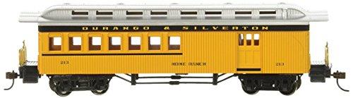 Bachmann Industries 1860–1880 Passenger Cars – Bouquet – Durango & Silverton # 213, Jaune, Noir et Argent