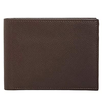 Perry Ellis Men's Manhattan Men's Pebble Leather Passcase Wallet (Dark Brown)