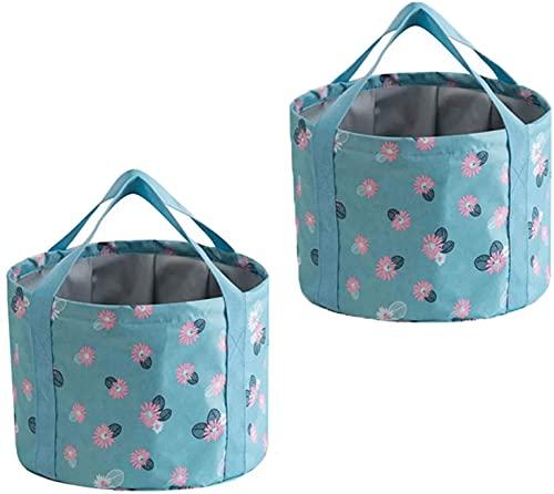 TXXM 2 stücke, faltender Eimer, wasserdichter Stoff, tragbarer faltschaufel kann füße kampieren Picknick wandern angelwaschbecken Reisen wasserbehälter (Color : Daisy, Size : 20 * 30cm)