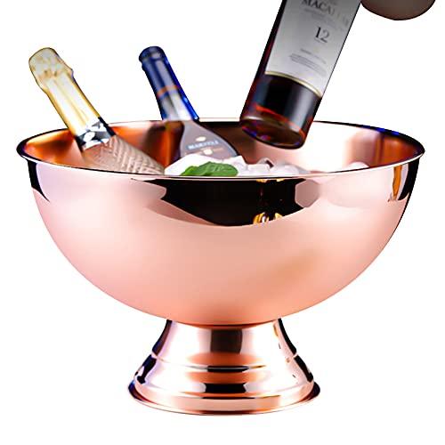 LTLWSH Cubo de champán Grande, Enfriador de Acero Inoxidable,Pulido Brillante, Muy Resistente, Enfriador de Acero Inoxidable para champán,Latón,Without Handle