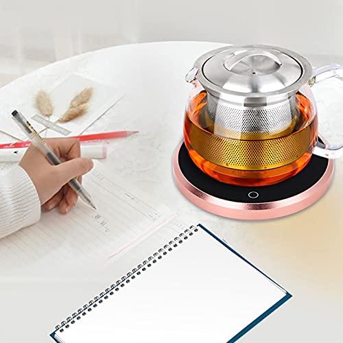 Wosune Calentador de Tazas, Calentador eléctrico para Tazas de café, Almohadilla para Posavasos de calefacción, para el hogar de Las cafeterías(European Standard 220V, Pink)