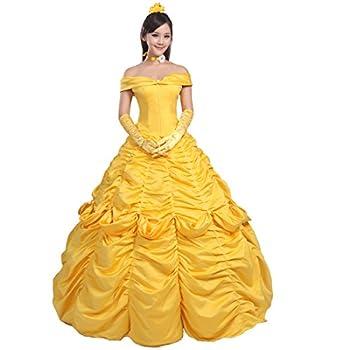 Ainiel Women s Cosplay Costume Princess Dress Yellow Satin  L Style 1