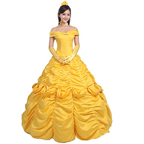 Ainiel Women's Cosplay Costume Princess Dress Yellow Satin (XL, Style 1) - http://coolthings.us