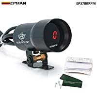 YASE-king -37mmスモークTach RPMタコメータレッドデジタルシフトライトスタイルゲージメーターポッドブラック、フォードフォーカスのための紫色98-12 EP37BKRPM (Color : Black)