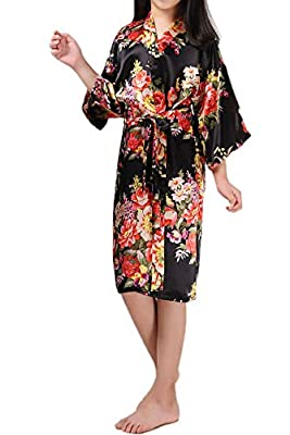 Zaaale Kids Girls Satin Silk Kimono Robe Bathrobe Nightgown Bridesmaid Sleepwear for Spa Party Wedding Birthday