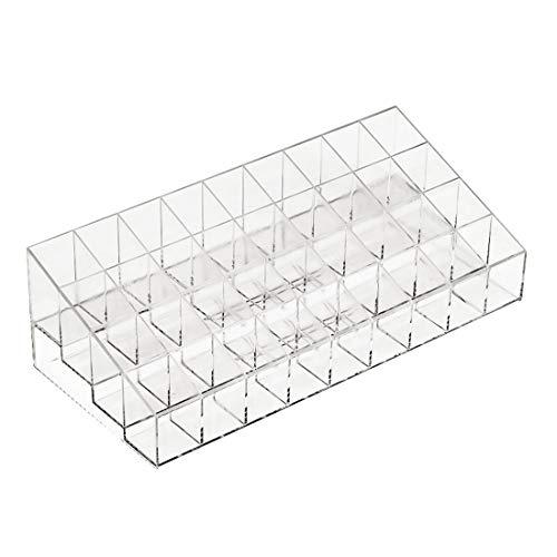 Transparent 36 grille support de rouge à lèvres acrylique organisateur cosmétique rouge à lèvres présentoir portable boîte de rangement de maquillage - Transparent