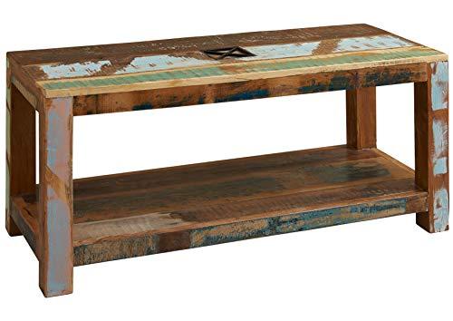 MASSIVMOEBEL24.DE Table Basse 110x50cm - Bois Massif recyclé Multicolore laqué - Inspiration Ethnique - Nature of Spirit #107