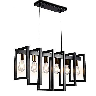 Modern Kitchen Island Light Pendant Chandelier 6-Light Ceiling Light Industrial Pendant Lighting Fixture Matte Black with Antique Brass Finish