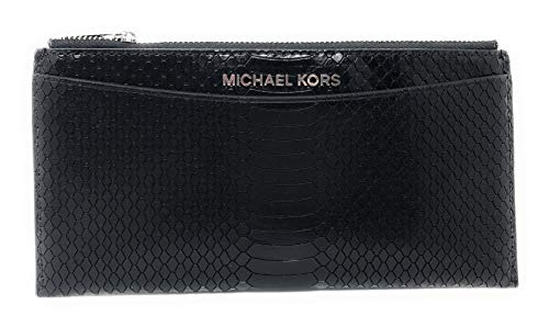 Michael Kors Jet Set Travel Large Slim Flat Card Case Wallet (Black Embossed)