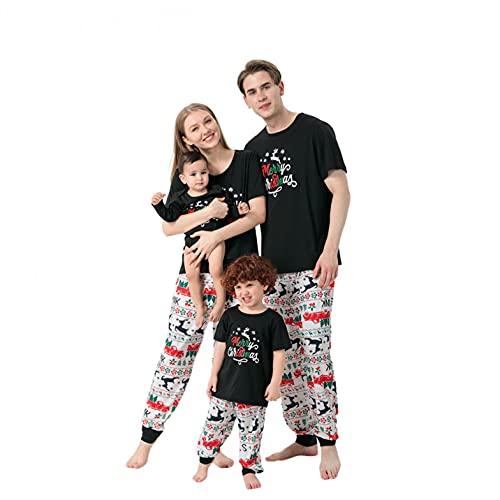 Alueeu Pijama para Hombre Mujer Niños Bebé Casual Homewear Tejido Franela Polar Conjunto Suave y Cómodo Camiseta Manga Corta + Pantalones