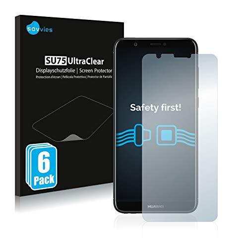 Savvies 6X Schutzfolie kompatibel mit Huawei P smart 2018 Bildschirmschutz-Folie Ultra-transparent