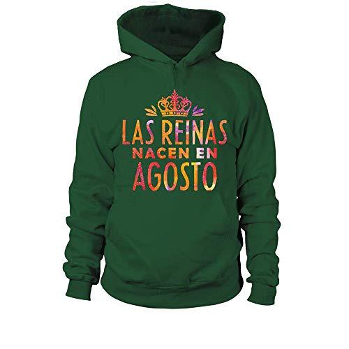 TEEZILY Sudadera con Capucha Unisex Las Reinas Nacen EN Agosto - Verde Botella - XL