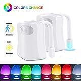 2 Pc Lampe Toilette Veilleuse LED Mouvement Détecteur Eclairage WC LED pour Salle de Bain Seau...
