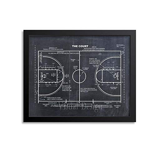 MG global Regalo de entrenador de baloncesto – Decoración de baloncesto – Póster de baloncesto – Plano de baloncesto – Impresión de patente de baloncesto – Arte de pared de baloncesto