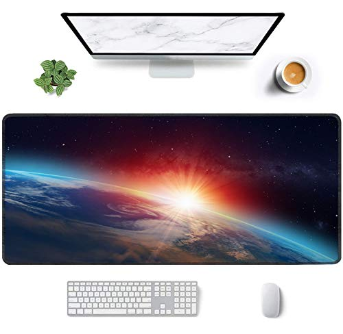 Gaming Mouse Pad, Large Extended Desk Mat XXL 35 x 15.7 Inch Big Desk Mouse Mat Pad with Stitched Edges Waterproof Computer Keyboard Pad Mat for Esports Pros/Gamer/Desktop/Office/Home-Space