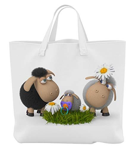 Einkaufstasche/Tragetasche/Shopper/mit Henkeln - 45 x 42 cm x 9,5 cm - Motiv: 3D Comic Schafe mit Lamm und Gänseblümchen - 07
