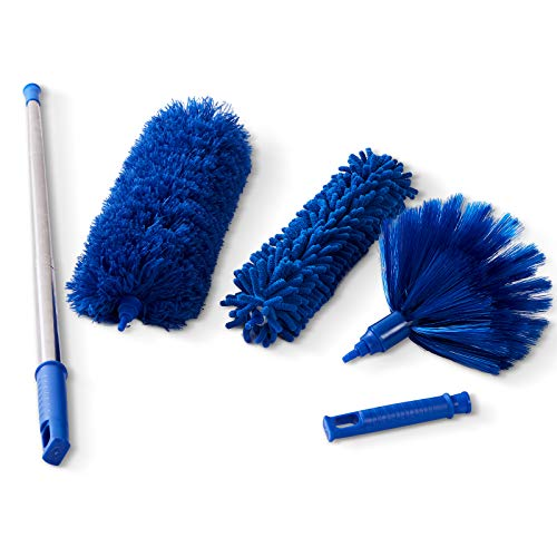 Microfiber Dusters w 2 Handle Sets, Durable 15~100 Inchs Long Telescopic Rod, Washable, Feather Dusters for Cleaning Cobweb, Ceilings Fans (3 Pack)…