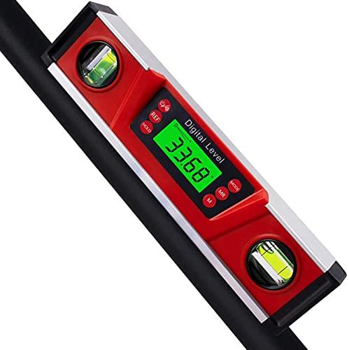 Digital-Niveau und Winkelmesser, 10 Zoll IP54 geschützter elektronischer Blasen-Neigungsmesser-Winkelsucher mit großer LED-Hintergrundbeleuchtung und magnetisierter V-Nut-Basis