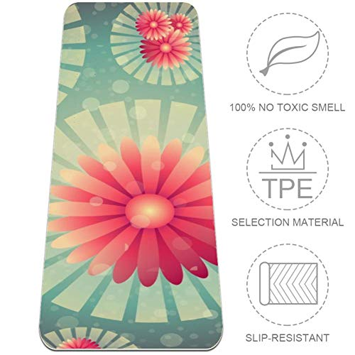 Eslifey - Esterilla de yoga con diseño de flores de arte digital, gruesa antideslizante para mujeres y niñas, esteras de ejercicio suaves para pilates (182 x 61 cm, 1/4 pulgadas de grosor)