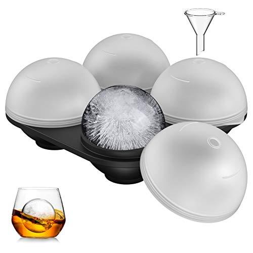 Eiswürfelform Silikon 4Fach 60mm Groß Eiswürfelbehälter Eiskugelform mit 4Deckel 1Trichter LFGB Zertifiziert und BPA Frei 100% Auslaufsicher Ice Cube Tray für Familie Partys Bier Whisky Babynahrung
