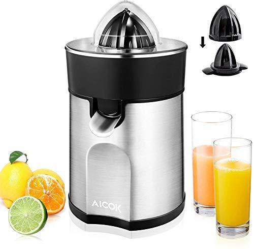 AICOK Organgenpresse & Zitruspresse Elektrisch, 85W Saftspresse Edelstahl mit 2 autom. links-& rechtsrotierende Presskegel für Zitronen/Orangen, Tropf-Stopp-Funktion, spülmaschinenfest, BPA-frei
