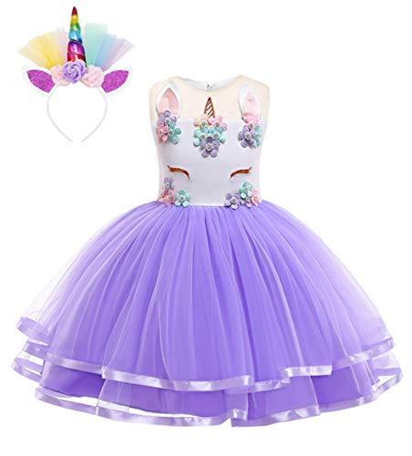AmzBarley eenhoorn-jurk, voor meisjes, kinderen, prinses, kostuum, meisjes, bloemen, tutu, avonds, verjaardagen, party, kleding, bruiloft, ceremonie, party, kleding