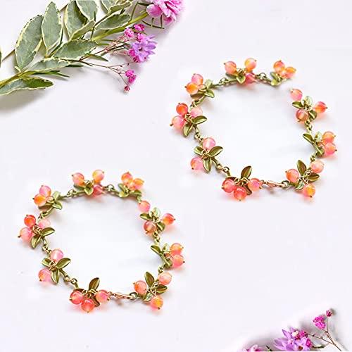 Yeky Women's Vintage Plant Fruit Bracelets, Plant Flowers Leaves Fruit Art Bracelet, Simple Temperament Fashion Beaded Bangles Jewelry (2Pcs F)
