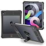 Shellbox Case for iPad Air 4 2020, Waterproof Case Protective Dustproof Shockproof Case Cover with 360° Full-Body Protection, iPad Air 4th Generation case with Lanyard and Kickstand (Black)