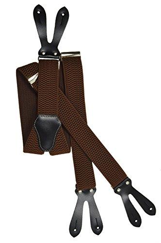 Olata Unisex Bretelle regolabili con Vera Pelle Asole, 4cm larghezza - Marrone