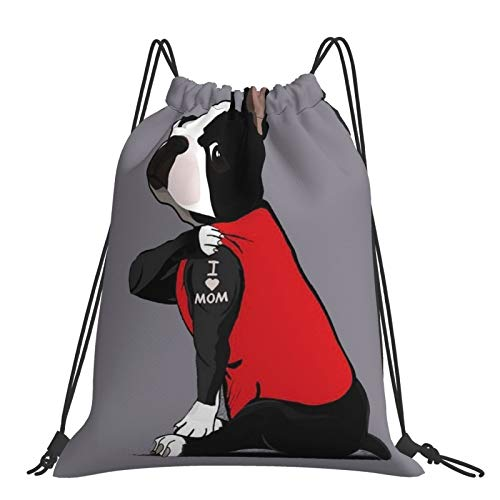 Zaino con coulisse Dog Say:I Love Mom Storage Bag Unisex Sacchetto Sport Palestra Sackpack Outdoor Portatile Borse Per Escursionismo Yoga Nuoto Viaggi