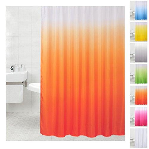 Sanilo Duschvorhang, viele einfarbige Duschvorhänge zur Auswahl, hochwertige Qualität, inkl. 12 Ringe, wasserdicht, Anti-Schimmel-Effekt (180 x 200 cm Orange)