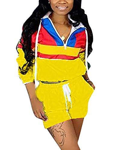 Women Colorblock 2 Piece Tracksuit Set Long Sleeve High Waist Pants Set Colour Sweatsuit Yellow S