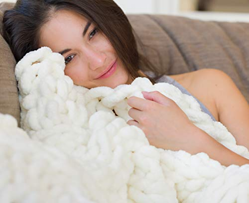 Chunky Knit Luxury Throw Blanket (50 x 60 inches) Large Cable Knitted Premium Soft Cozy Polyester Chenille Bulky Blankets for Cuddling up in Bed, on the Couch or Sofa (Ivory White)