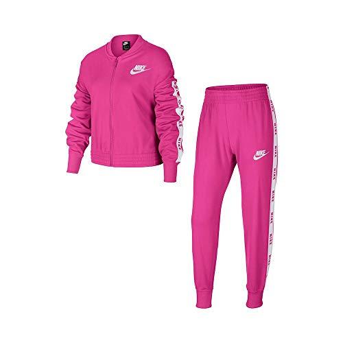 Nike G NSW TRK Suit Tricot, Tuta Bambina, Fire Pink/White/Fire Pink/White, XS