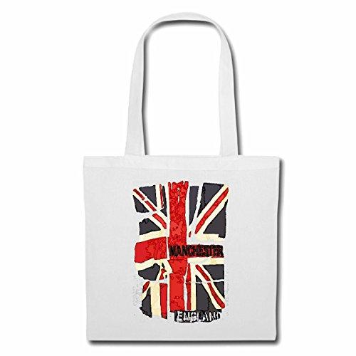 Tasche Umhängetasche England Flagge Manchester ENGLISCHE Fahne Vereinigtes KÖNIGREICH Charlotte London United Einkaufstasche Schulbeutel Turnbeutel in Weiß