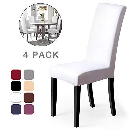 Fundas para sillas Pack de 4 Fundas sillas Comedor Fundas elásticas, Cubiertas para sillas,bielástico Extraíble Funda, Muy fácil de Limpiar, Duradera (Paquete de 4, Blanco) - J