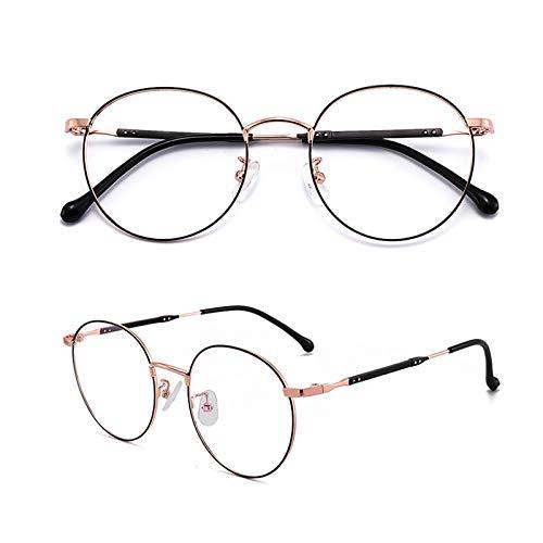 XYNH Metall Frame Retro Rund Rahmen Lesebrillen,Klassisches Blue Light Blocking Fake Brillen,Blendschutz,Ultraleicht,Komfortabel,Mode,0/0.5/1.0