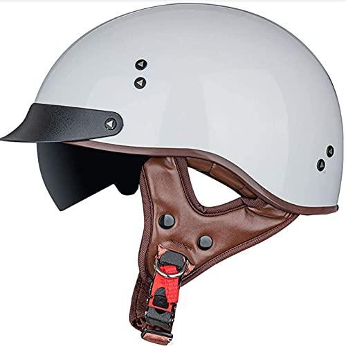Medio Casco de Motocicleta,Casco de Cara Abierta Retro para Hombres Mujeres Bike Cruiser Chopper Moped Scooter Casco Certificado ECE B,XL60~61CM