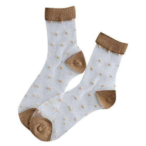 Cardith Frauen-beiläufige Sommer-Art und Weise transparente Silk Punkt-kurze Socken