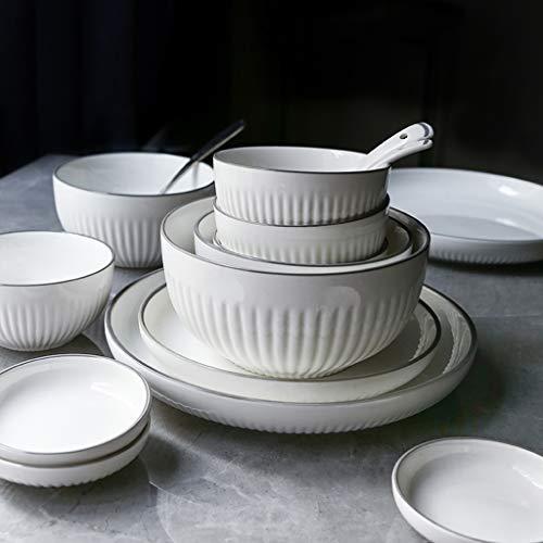 MOMOY Juegos De Vajillas De Porcelana, 30 Piezas Juego De Combinación De Porcelana De Estilo Simple para El Hogar - Tazón/Plato/Cuchara | Vajilla De Rayas Verticales Gris Plata para Restaurante