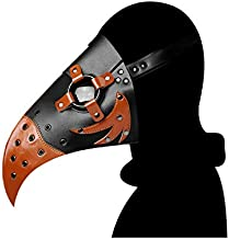 Lesh Life Plague Doctor Mask, Steampunk Long Nose Bird Beak Mask, Halloween Costume Props Gpthic Leather Mask for Party (Multi)