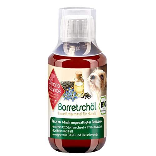 ChronoBalance® Bio-Borretschöl für Hunde (100ml), 3-Fach ungesättigte Fettsäuren, für Haut und Fell, unterstützend für Stoffwechsel und Immunsystem, Nahrungsergänzung und Vitamine für Hunde