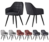 MCCDirect 2x Faux Matte Suede Leather Dining Chairs Accent Chairs home & restaurants Adrian (Black)