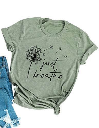 YNALIY Damen Pusteblume Just Breathe T-Shirt Spruch Löwenzahn Tee Shirt Print Kurzarm Rundhals Sommer Oberteile Casual
