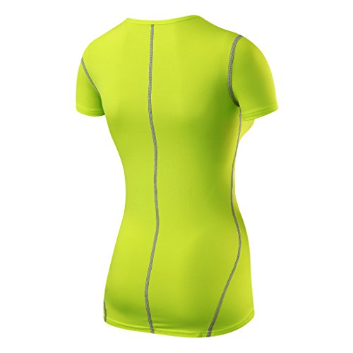 TCA Superthermal Quickdry Damen Laufshirt/Funktionsshirt mit Rundhalsausschnitt – Limettengrün, M - 2